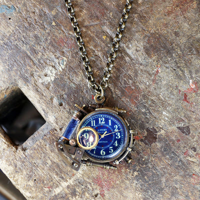 A Story X Denki Endorphin | Steampunk Brass Pendant Watch (Arabic) | Original Handmade Clocks from Japan