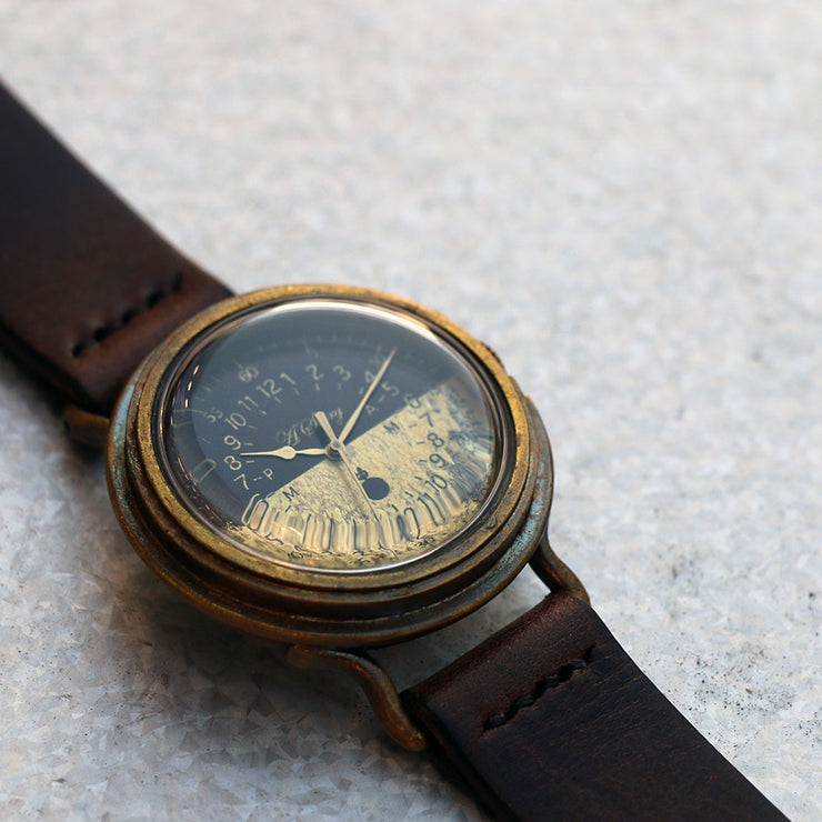 GENSO | Black & Brass Military Watch (Bicolor) | Original Handmade Watches from Japan