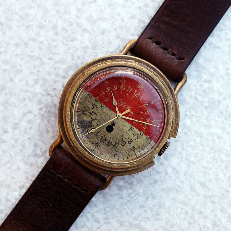 A Story | Red & Brass Military Watch Bicolor | Original Handmade Watches from Japan