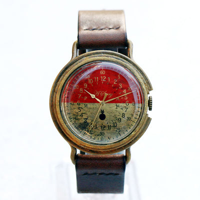 GENSO | Red & Brass Military Watch Bicolor | Original Handmade Watches from Japan
