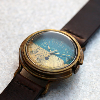 GENSO | Blue & Brass Military Watch (Bicolor) | Original Handmade Watches from Japan