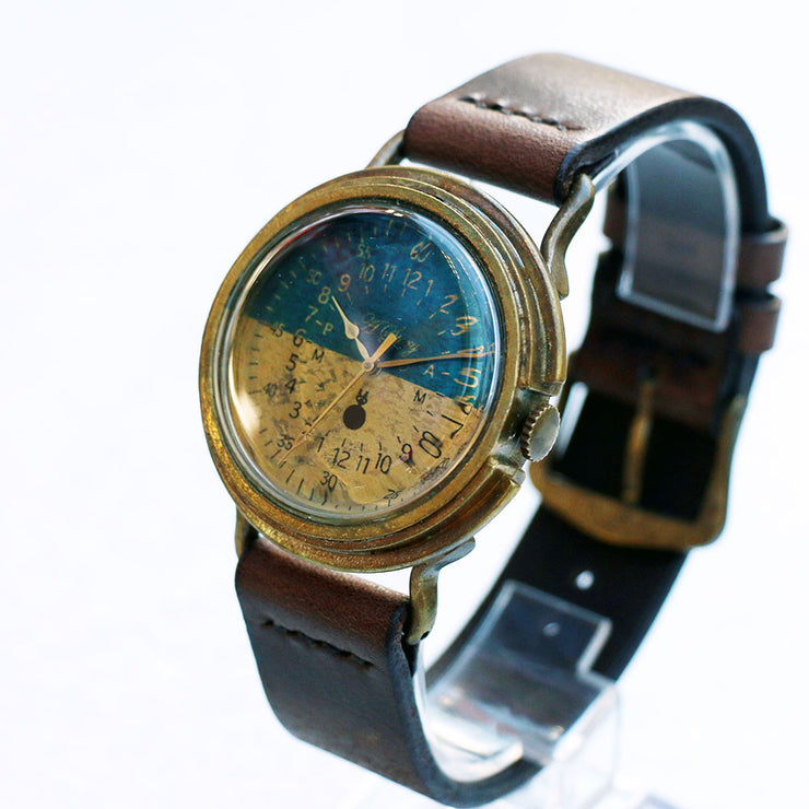 A Story | Blue & Brass Military Watch (Bicolor) | Original Handmade Watches from Japan