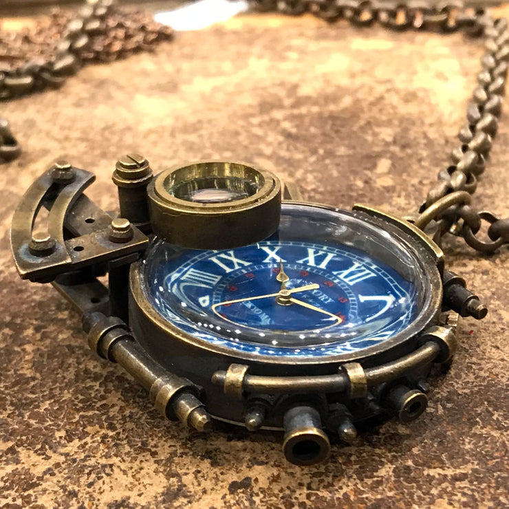 A Story X Denki Endorphin | Steampunk Brass Pendant Watch (Roman) | Original Handmade Clocks from Japan