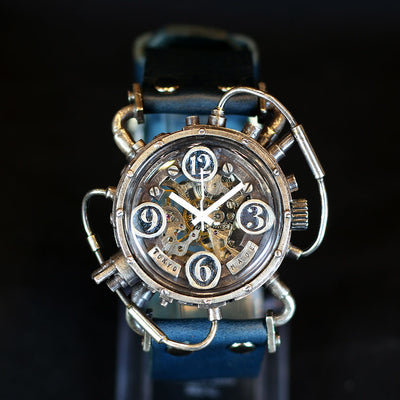 CHRONO MACHINE Mechanical Steampunk watch Silver925 (Blue) unique piece 個性手錶