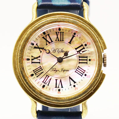 Retro Shell Roman Numeral Dial Watch | Original Handmade Watches from Japan 羅馬數字 貝殼 復古風格古銅個性手錶