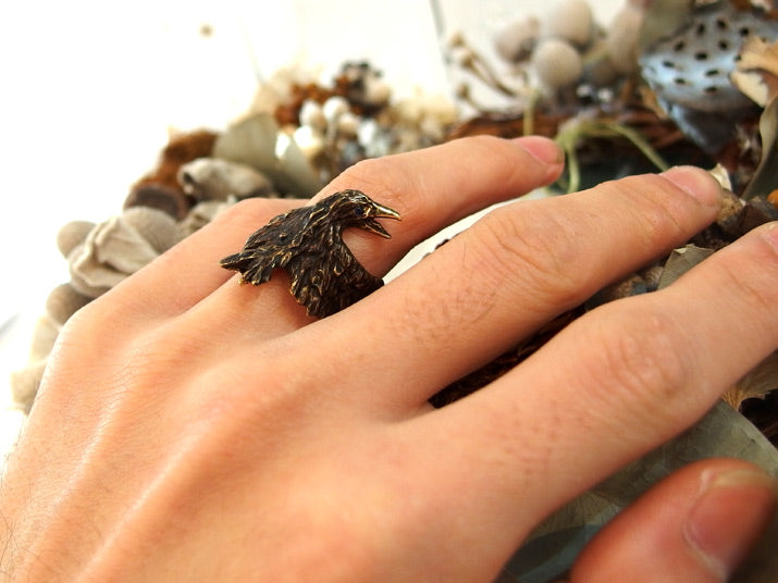 DECOvienya | Wounded crow's ring | Animal jewelry | 可愛勳物首飾 烏鴉戒指