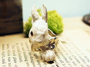 DECOvienya | Large rabbit and Clover ring white | animal jewelry | 可愛勳物首飾 大兔子戒指