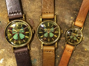 Classic Wristwatch Blue Butterfly Emerald | Original Handmade Watches from Tokyo