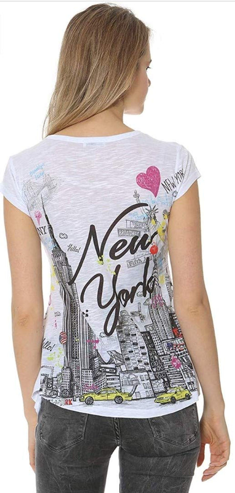Sweet Gisele New York City Manhattan Sketch Skyline Tunic T Shirt for Women Decorated with Rhinestone