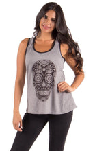Load image into Gallery viewer, Sweet Gisele Sugar Skull Womens Racer Back Two-Tone Tank Top with Bling