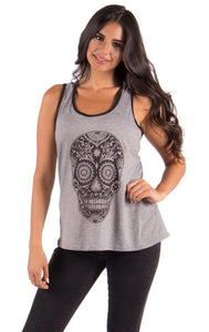 Sugar Skull Racer Tank Top