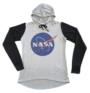 NASA Meatball Logo Hooded Sweatshirt | High Low Raglan with Bling Grey/Black, Blue/Black, Pink/Black