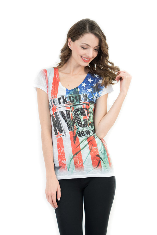 Statue of Liberty V-Neck Tee