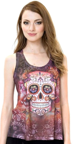 Sweet Gisele Womens Sugar Skull Racerback Muscle Tank Top Tee | Beautiful Print Decorated with Sparkling Bling Rhinestones