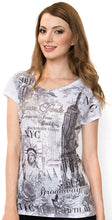 Load image into Gallery viewer, Sweet Gisele New York NYC T Shirt Iconic Landmarks Embellished with Bling Rhinestones