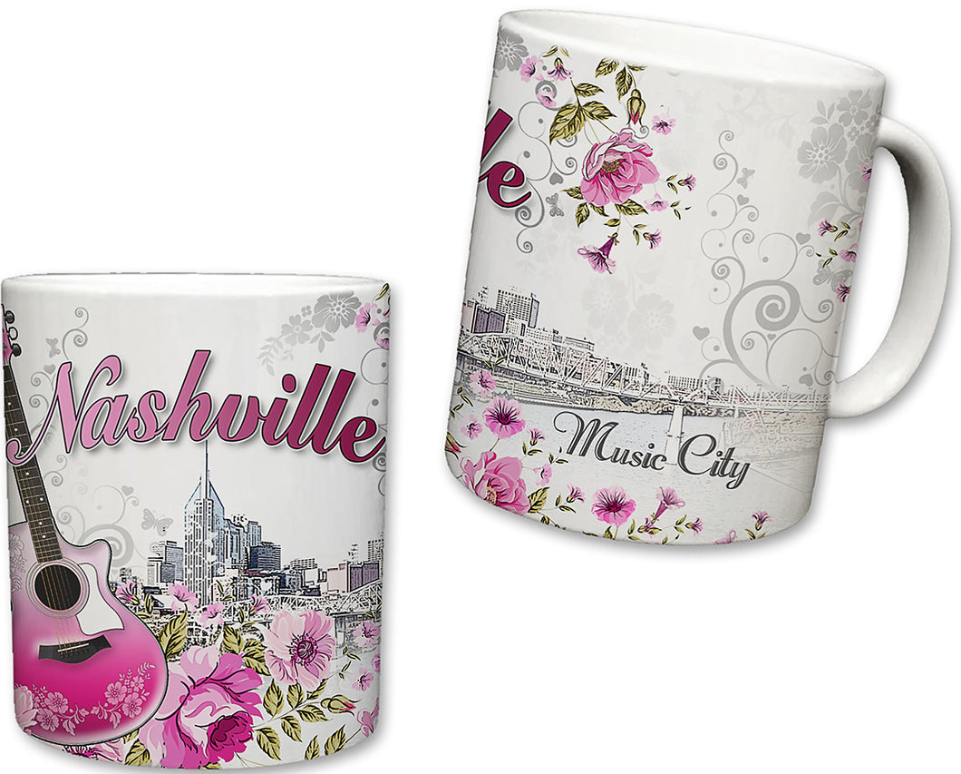 Sweet Gisele | City of Nashville Inspired Mug | Ceramic Coffee Cup | Downtown Skyline Background | Music City Theme | Pink Guitar & Floral Pattern Foreground | Great Novelty Gift | 11 Fl. Oz