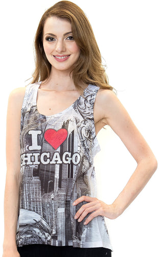 Sweet Gisele Love Chicago Womens Fashion Racer Back Yoga Tank Top w/ Rhinestone