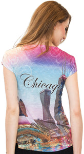 Sweet Gisele Chicago Skyline Graphic Tunic Tee | Womens Bling Decorated T-Shirt
