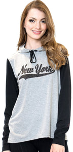Sweet Gisele New York Womens Hoodie Glitter & Rhinestone Grey, Blue & Pink