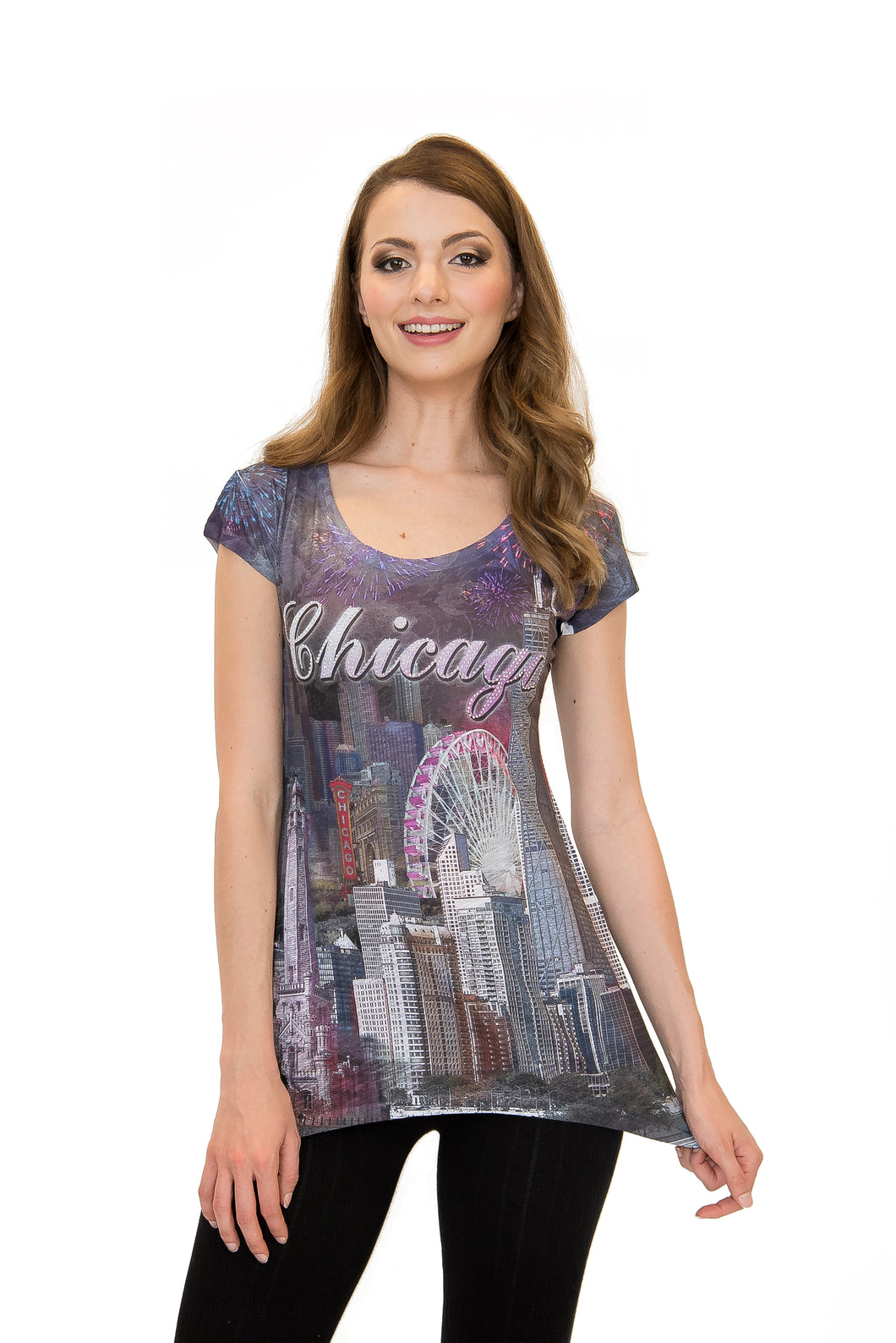 Sweet Gisele Chicago City Skyline Print | Rhinestone-Embellished Souvenir | Womens Tunic T-Shirt w/Bling