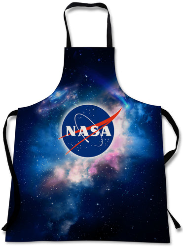 NASA Outer Space Cooking Apron | 3D Print Chef Aprons | Home Kitchen Souvenir Gift | Travel Accessories Made in USA | 1 Size Adjustable Bib Unisex