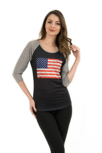 Vintage USA Flag Two-Tone 3/4 Sleeve T-Shirt - Sweet Gisele