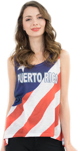 Puerto Rico Flag Bling-Embellished Tank Top