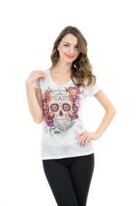 Sugar Skull V Neck T Shirt Tee Beautiful Print Decorated with Rhinestones - White