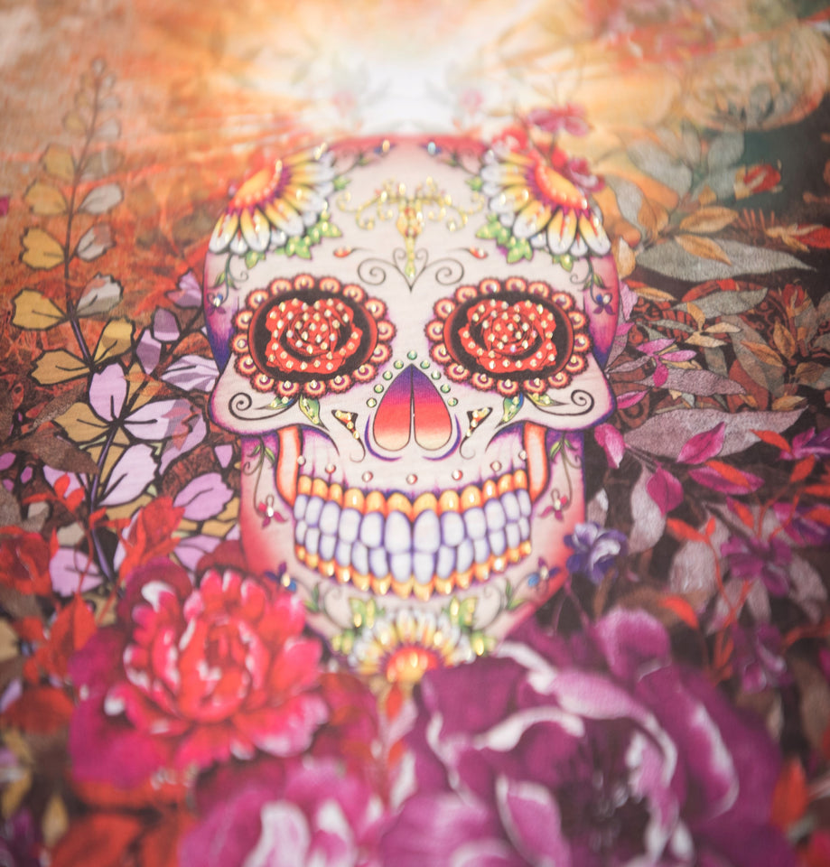 Sugar Skull V Neck T Shirt Beautiful Print Decorated with Rhinestones
