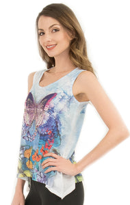 Sweet Gisele Colorful Butterfly Womens Tank Top Tunic with Rhinestones Bling