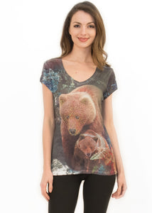 Sweet Gisele Brown Bear Inspired 3D V Neck T Shirt for Women w/ Rhinestone Bling