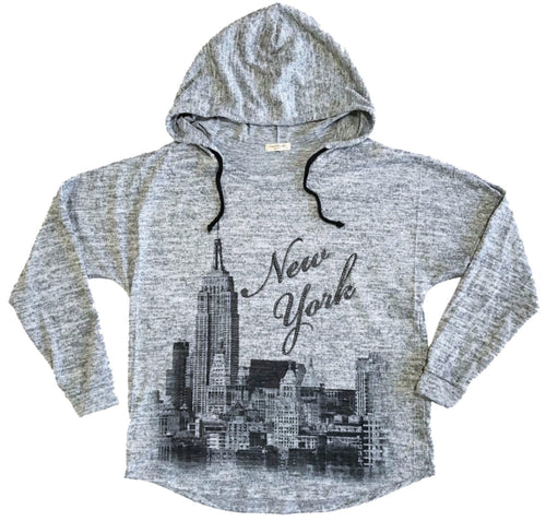 Sweet Gisele New York NYC Brush Hoodie | Grey, Pink | Womens Sweatshirt w/Bling