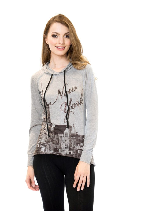NYC Heather-Grey Raglan Bling-Embellished High-Low Pullover Hoodie - Sweet Gisele