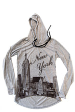 Load image into Gallery viewer, NYC Heather-Grey Raglan Bling-Embellished High-Low Pullover Hoodie - Sweet Gisele