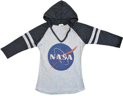 NASA Logo Hooded 3/4 Sleeve Sweatshirt