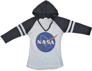 NASA Logo Hooded Sweatshirt Womens Two Tone 3/4 Sleeve Hoodie Pullover w/Bling Grey/Charcoal