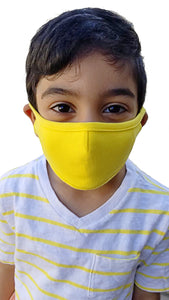 Yellow - Kids Face Mask with Filter Pocket/ Mouth Mask Washable/ Dust Mask/ Reusable Mask/ Travel Mask