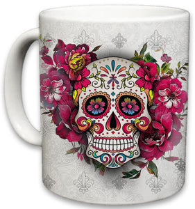 Sugar Skull Ceramic Mug | Floral Print Coffee Cup | Day of the Dead Design | Beautiful Vivid Colors | Great Novelty Gift | White | 11 Fl. Oz