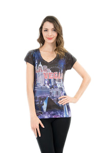 Las Vegas Skyline Bling-Embellished V-Neck T-Shirt - Sweet Gisele