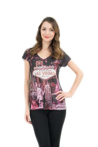 Las Vegas Bling-Embellished V-Neck T-Shirt - Sweet Gisele