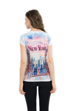 Load image into Gallery viewer, NYC Skyscrapers Bling-Embellished V-Neck T-Shirt - Sweet Gisele