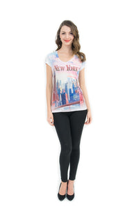 NYC Skyscrapers Bling-Embellished V-Neck T-Shirt - Sweet Gisele