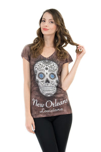 New Orleans Sugar Skull V-Neck Bling-Embellished T-Shirt - Sweet Gisele