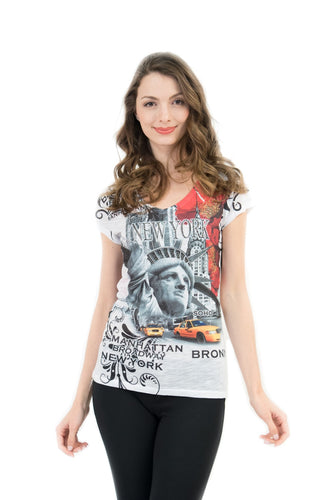 Big Apple NYC Bling-Embellished V-Neck T-Shirt - Sweet Gisele