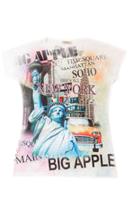 Load image into Gallery viewer, Manhattan NYC Bling-Embellished V-Neck T-Shirt - Sweet Gisele