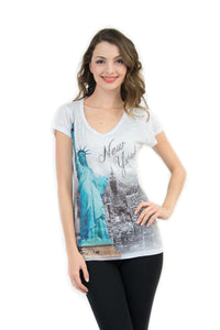 Statue of Liberty NYC Bling-Embellished V-Neck T-Shirt - Sweet Gisele