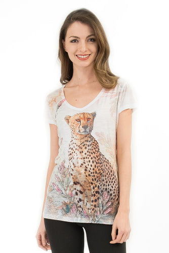 Cheetah Inspired Bling-Embellished V-Neck T-Shirt - Sweet Gisele