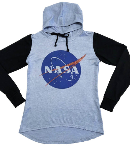 Sweet Gisele Blue NASA Meatball Logo Worm Hooded Sweatshirt Sweater Pullover Womens Two Tone Raglan Hoodie w/ Bling Blue/Black