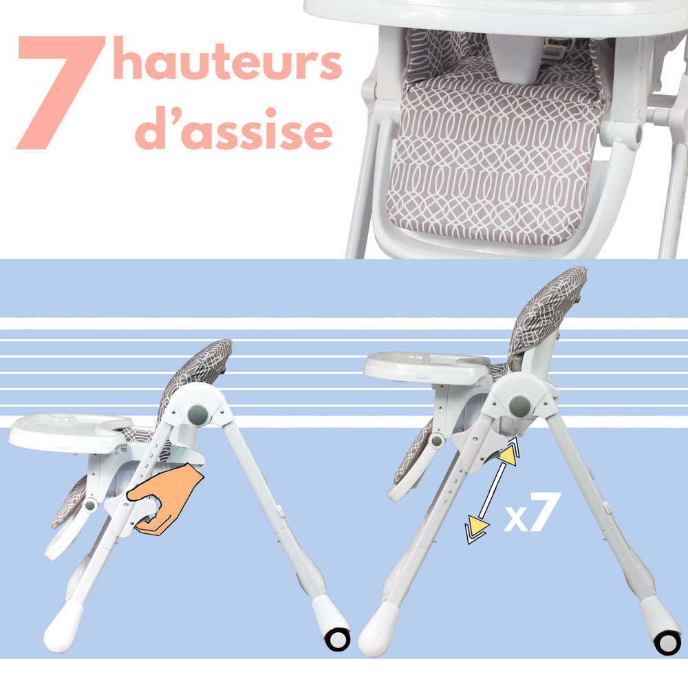 Chaise haute évolutive multipositions à roulettes