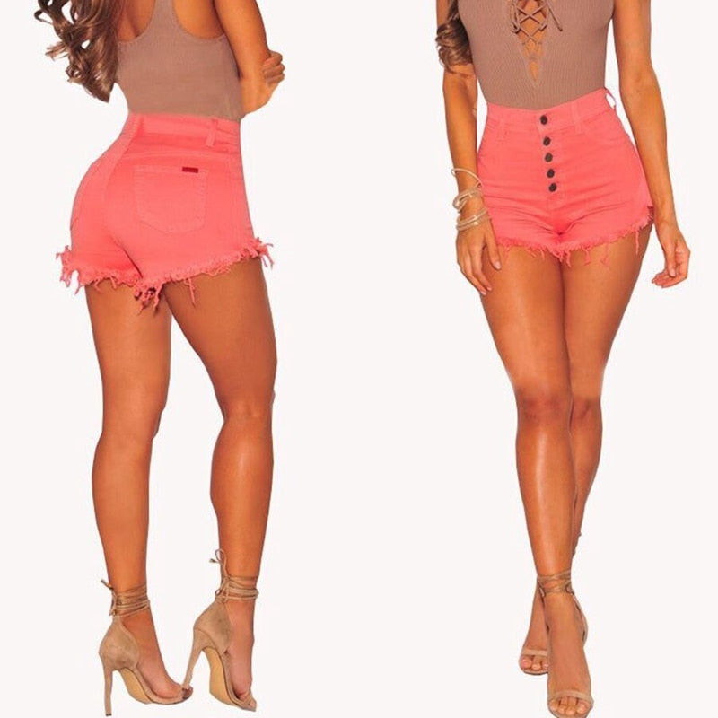 Hot Style Elastic High-waist Denim Shorts